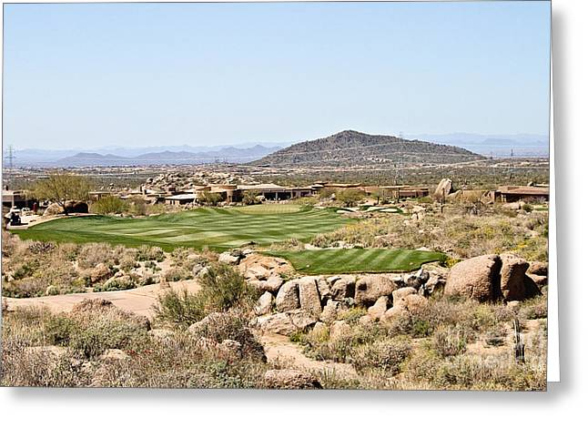 Scottsdale Artist Greeting Cards - First Tee Greeting Card by Scott Pellegrin
