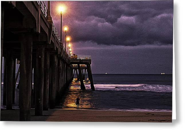 Surf City Digital Greeting Cards - First to Huntington Greeting Card by Ron Regalado