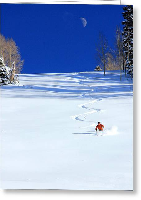 Fresh Snow Greeting Cards - First Tracks Greeting Card by Johnny Adolphson