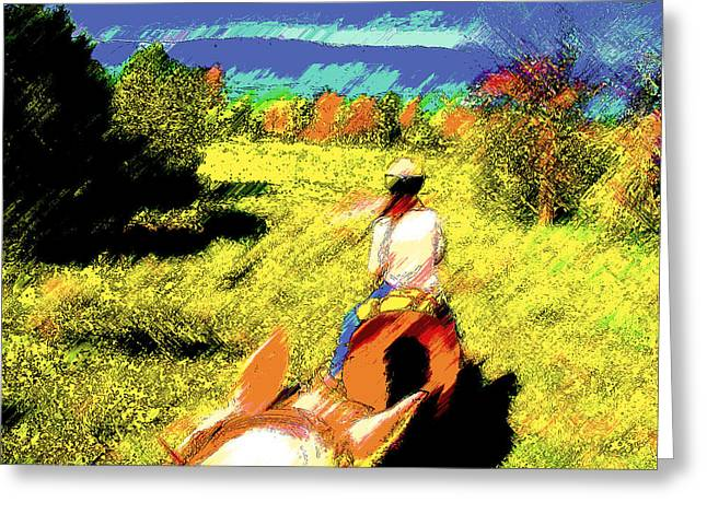 First Trail Ride-digital Sketch 2 Greeting Card by Lenore Senior and Juel Trask