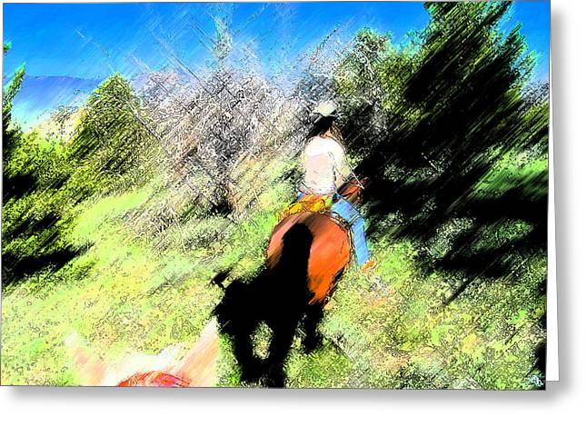 First Trail Ride-digital Sketch Greeting Card by Lenore Senior and Juel Trask