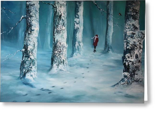 Nightjars Greeting Cards - First Trodden Snows Greeting Card by Jean Walker