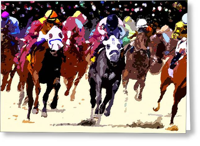 Run Down Digital Art Greeting Cards - First turn at Churchill Greeting Card by David Lee Thompson