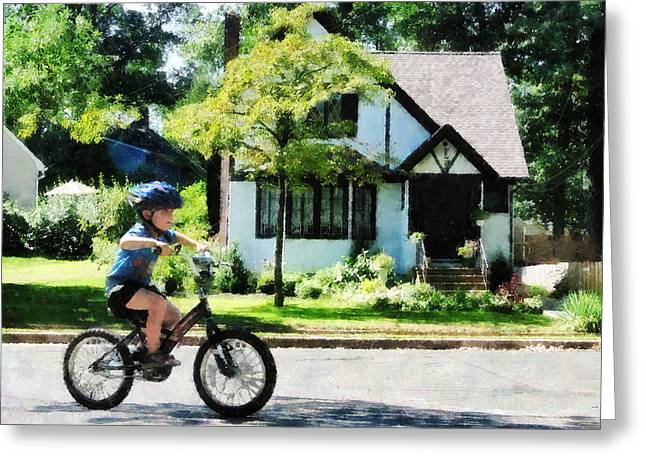 Biking Greeting Cards - First Two Wheeler Greeting Card by Susan Savad