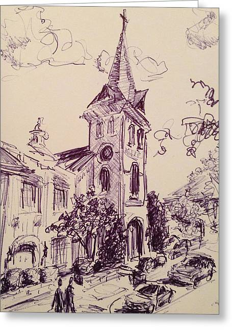 Alabama Drawings Greeting Cards - First United Methodist Church Huntsville Alabama Greeting Card by Carole Foret