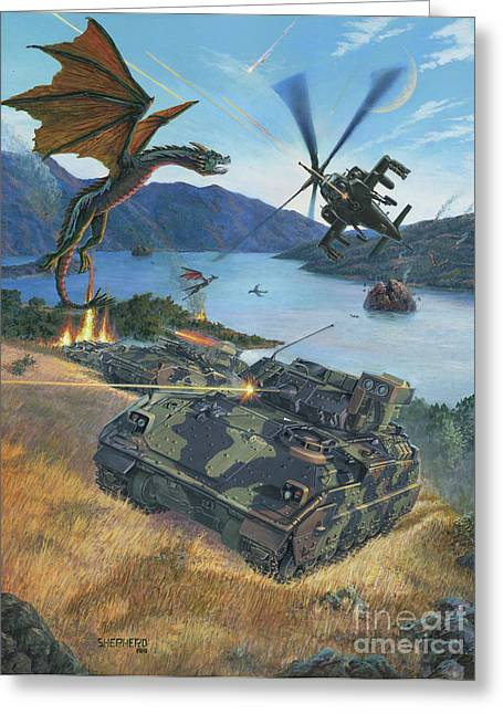 Clash Of Worlds Greeting Cards - First Wave - Clash at Pyramid Lake Greeting Card by Stu Shepherd