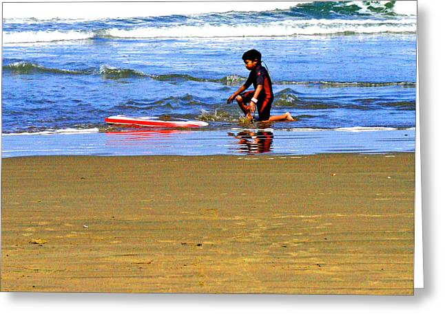 Surfing Photos Digital Art Greeting Cards - First Wave Greeting Card by Joseph Coulombe