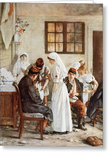 Assist Greeting Cards - First Wordl War. Nurses With Wounded Soldiers. Poitiers Greeting Card by Bridgeman Images