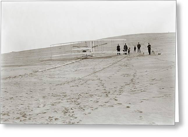 First Wright Flyer Launch Greeting Card by Library Of Congress