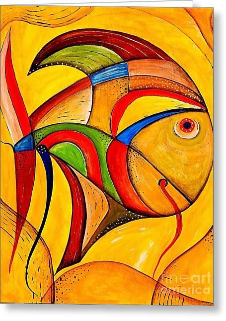 Vector Image Paintings Greeting Cards - Fish 534-11-13 marucii Greeting Card by Marek Lutek