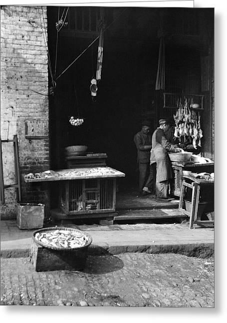 Monger Greeting Cards - Fish Alley - San Francisco - 1896 Greeting Card by Daniel Hagerman