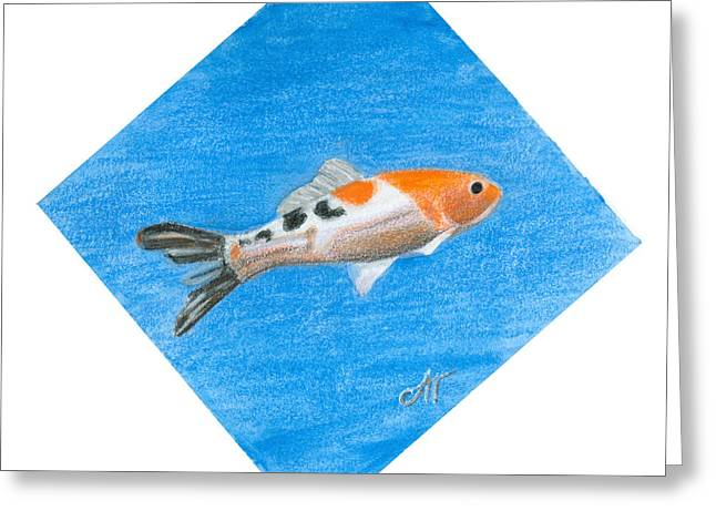 Decorative Fish Drawings Greeting Cards - Fish Greeting Card by Ana Tirolese