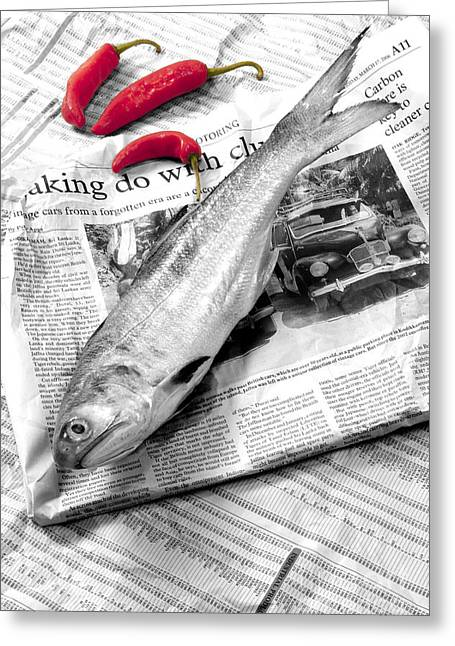 William Voon Greeting Cards - Fish And Chillies Greeting Card by William Voon
