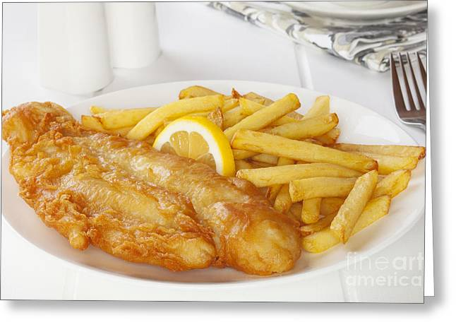 Fries Greeting Cards - Fish and Chips Greeting Card by Colin and Linda McKie