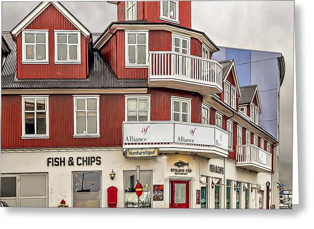 Icelandic Fish Greeting Cards - Fish and Chips Greeting Card by Maria Coulson