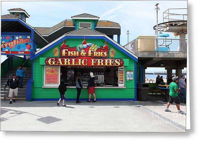 Santa Cruz Ca Photographs Greeting Cards - Fish And Fries At The Santa Cruz Beach Boardwalk California 5D23687 Greeting Card by Wingsdomain Art and Photography