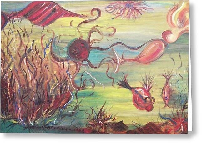 Suzanne Marie Molleur Paintings Greeting Cards - Fish and Mermaid Greeting Card by Suzanne  Marie Leclair