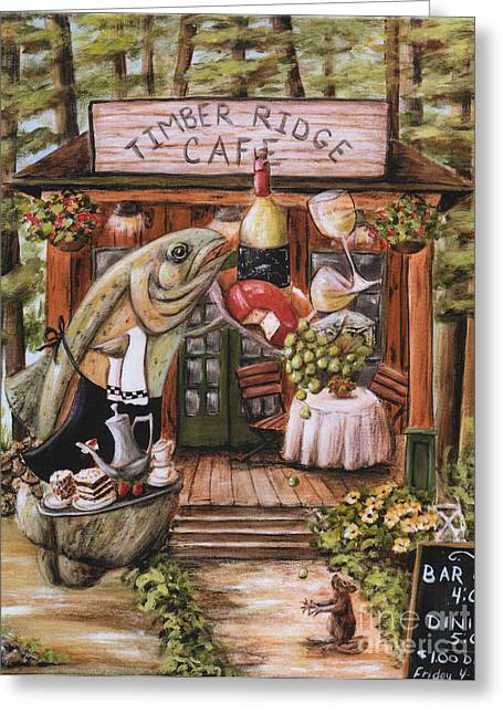 Recently Sold -  - Log Cabins Greeting Cards - Fish and White Wine Cabin Art  Greeting Card by Debbie Cerone