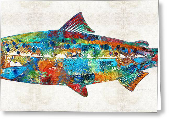 Health Food Greeting Cards - Fish Art Print - Colorful Salmon - By Sharon Cummings Greeting Card by Sharon Cummings