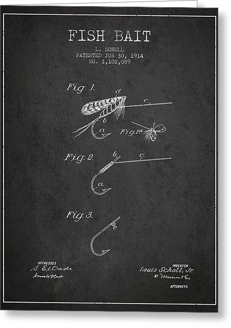 Fish Digital Art Greeting Cards - Fish Bait Patent from 1914 - Charcoal Greeting Card by Aged Pixel