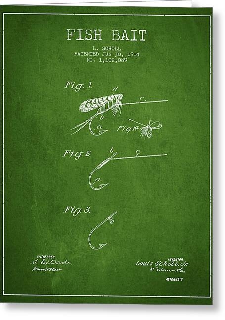 Fish Digital Art Greeting Cards - Fish Bait Patent from 1914 - Green Greeting Card by Aged Pixel