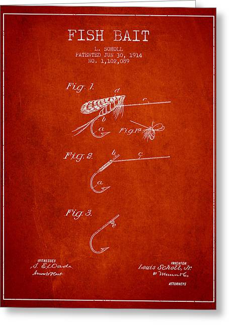 Fish Digital Art Greeting Cards - Fish Bait Patent from 1914 - Red Greeting Card by Aged Pixel