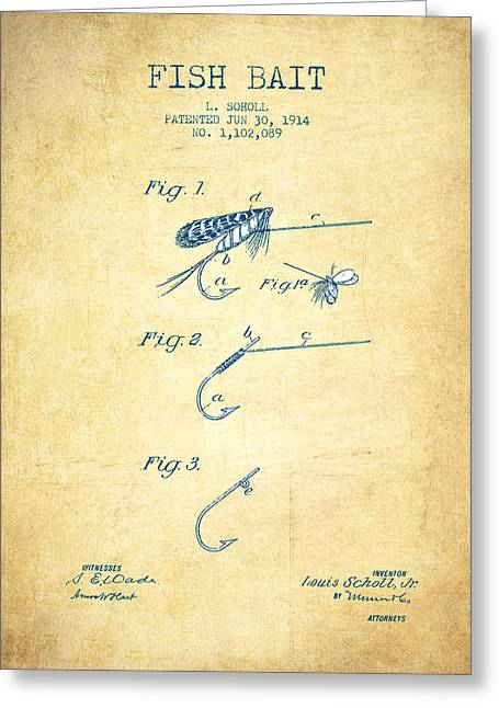 Fishing Rods Greeting Cards - Fish Bait Patent from 1914 - Vintage Paper Greeting Card by Aged Pixel