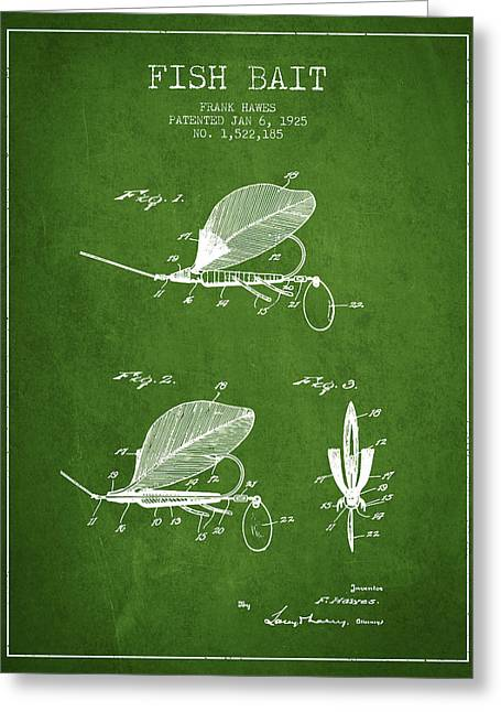 Tackle Greeting Cards - Fish Bait Patent from 1925 - Green Greeting Card by Aged Pixel