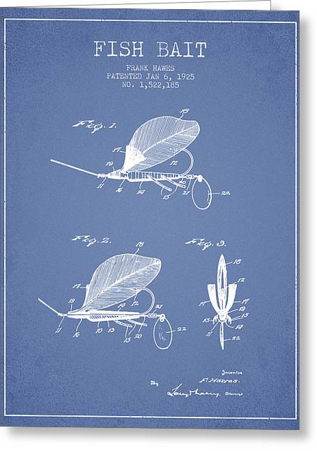 Fish Digital Art Greeting Cards - Fish Bait Patent from 1925 - Light Blue Greeting Card by Aged Pixel