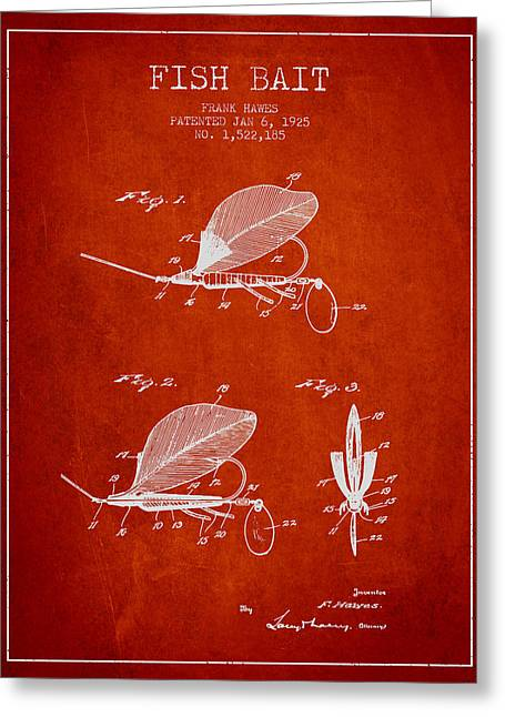 Fish Digital Art Greeting Cards - Fish Bait Patent from 1925 - Red Greeting Card by Aged Pixel