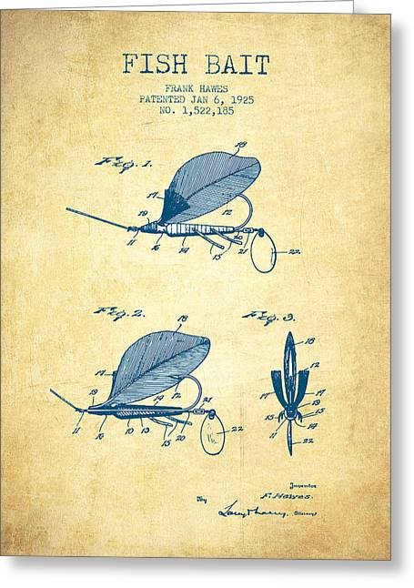 Fishing Rods Greeting Cards - Fish Bait Patent from 1925 - Vintage Paper Greeting Card by Aged Pixel