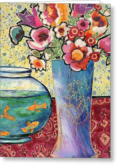 Diane Fine Greeting Cards - Fish Bowl and Posies Greeting Card by Diane Fine