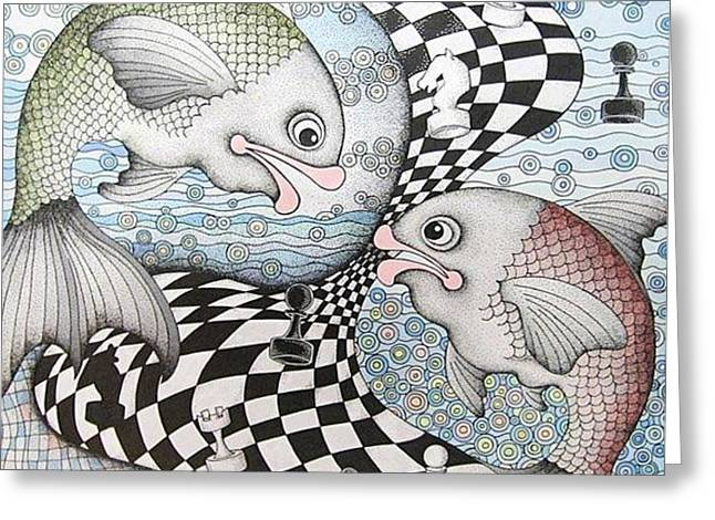 Oracular Greeting Cards - Fish Chess Greeting Card by Grass Hopper