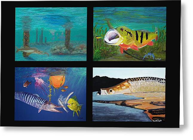 Wahoo Greeting Cards - Fish Collage Greeting Card by Ken Figurski