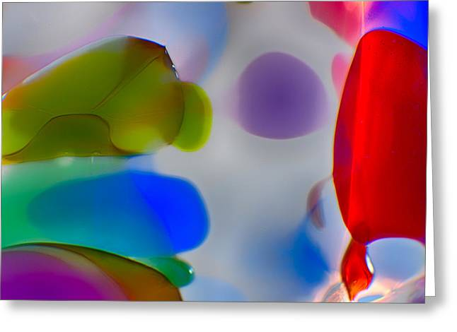 Red Abstracts Glass Art Greeting Cards - Fish Commuting Greeting Card by Omaste Witkowski