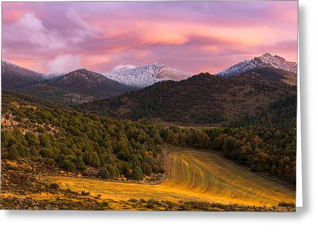 Fish Creek Pass Sunset Greeting Card by Joseph Rossbach