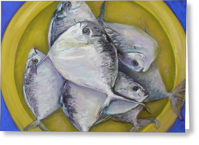 Fresh Green Pastels Greeting Cards - Fish Dinner Greeting Card by Cy Borbone