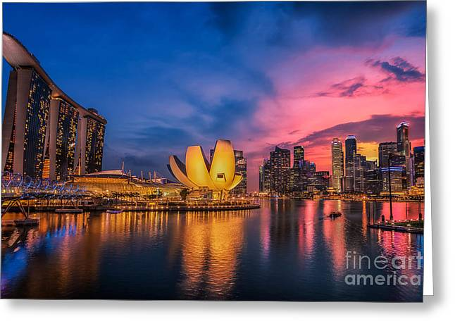 River View Greeting Cards - Fish-eye view of Singapore city skylin Greeting Card by Anek Suwannaphoom