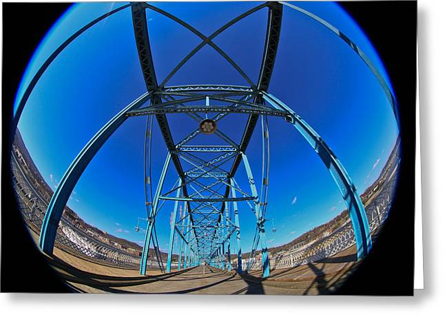 Riverpark Greeting Cards - Fish Eye View of Walnut Street Bridge Greeting Card by Tom and Pat Cory
