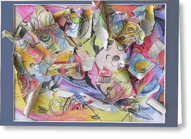 Popular Art Mixed Media Greeting Cards - Fish Faces Greeting Card by Kathy Lowell