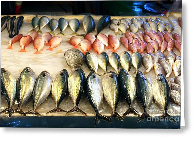 Fresh Fish Greeting Cards - Fish for Sale in Taiwan Greeting Card by Yali Shi