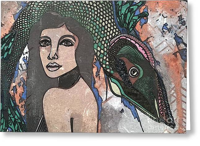 Fish Head Woman Greeting Card by Amy Sorrell