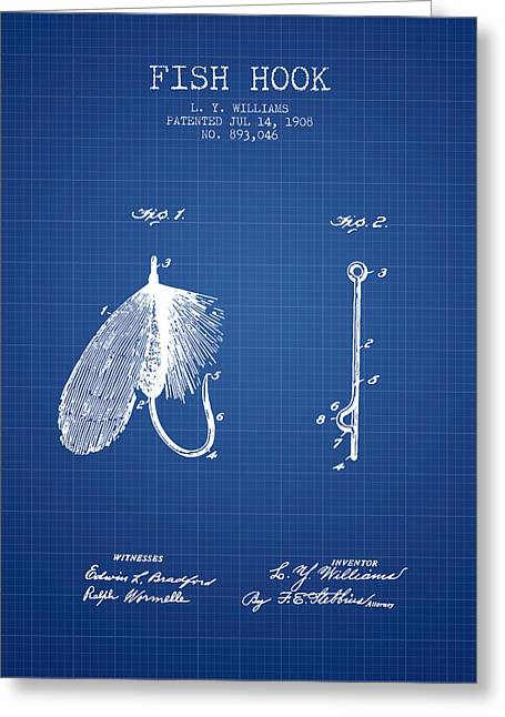 Tackle Greeting Cards - Fish Hook Patent from 1908- Blueprint Greeting Card by Aged Pixel
