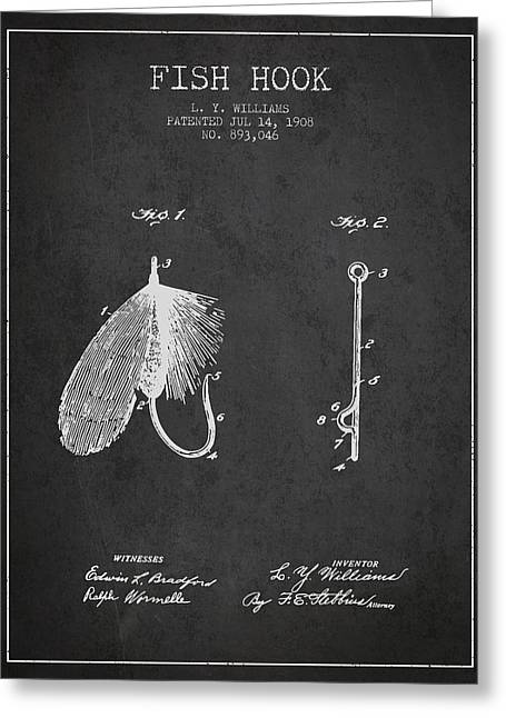Tackle Greeting Cards - Fish Hook Patent from 1908- Charcoal Greeting Card by Aged Pixel