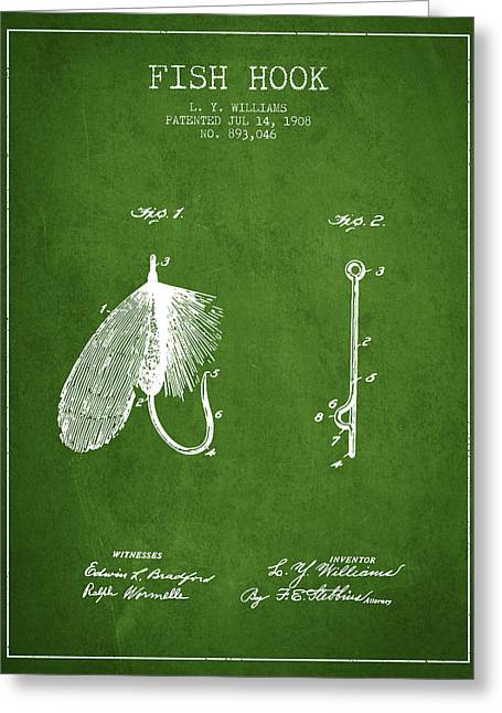 Tackle Greeting Cards - Fish Hook Patent from 1908- Green Greeting Card by Aged Pixel
