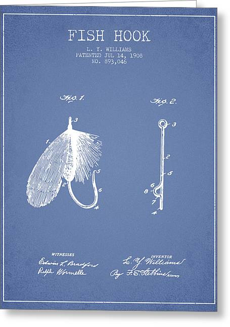 Tackle Greeting Cards - Fish Hook Patent from 1908- Light Blue Greeting Card by Aged Pixel