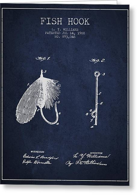 Tackle Greeting Cards - Fish Hook Patent from 1908- Navy Blue Greeting Card by Aged Pixel