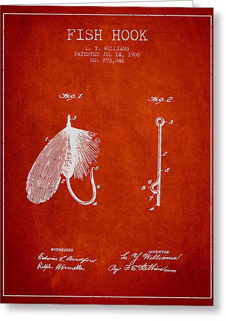 Fish Digital Greeting Cards - Fish Hook Patent from 1908- Red Greeting Card by Aged Pixel