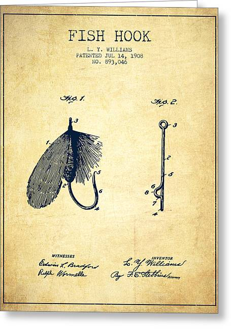 Fish Digital Art Greeting Cards - Fish Hook Patent from 1908- Vintage Greeting Card by Aged Pixel