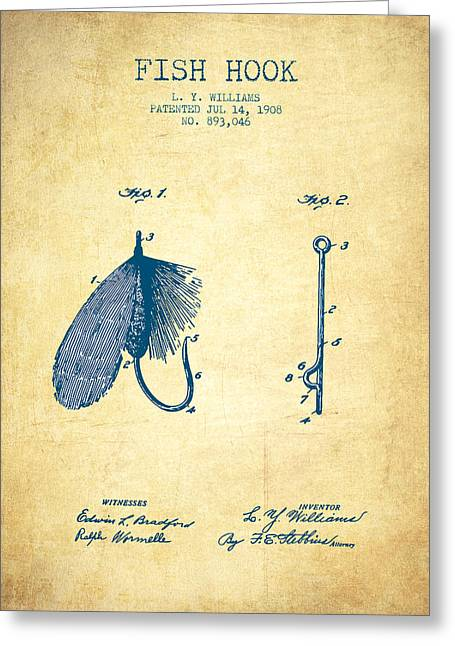 Fishing Rods Greeting Cards - Fish Hook Patent from 1908- Vintage Paper Greeting Card by Aged Pixel